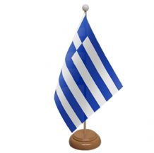 GREECE - TABLE FLAG WITH WOODEN BASE